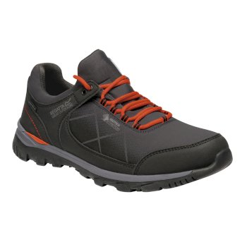 Regatta Men's Highton Stretch Walking Shoes - Briar Grey Burnt Salmon