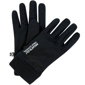Regatta Men's Extol Stretch Gloves with Fleece Cuffs - Black