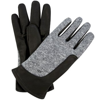 Regatta Men's Gerson Knit Effect Leather Gloves - Black Dust