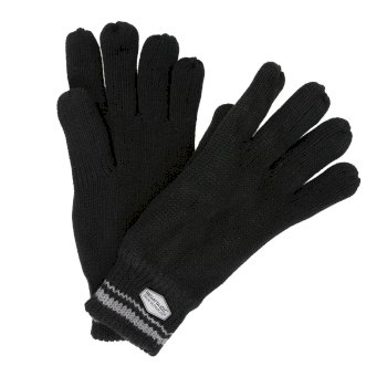 Regatta Balton Cotton Jersey Knit Gloves - Black