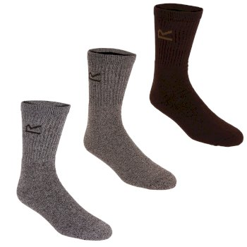 Men's 3 Pack Socks Brown Marl