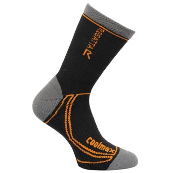 Regatta Men's 2 Season Coolmax Trek & Trail Socks - Black Gold Heat