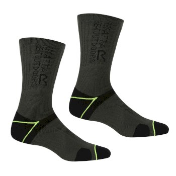 Regatta Men's Blister Protection II Socks - Black Electric Lime