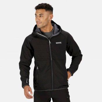 Arec II Softshell-Jacke mit Kapuze für Herren Schwarz/Robbengrau