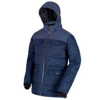 Regatta Arnault Herringbone Wool Effect Hooded Jacket - Navy