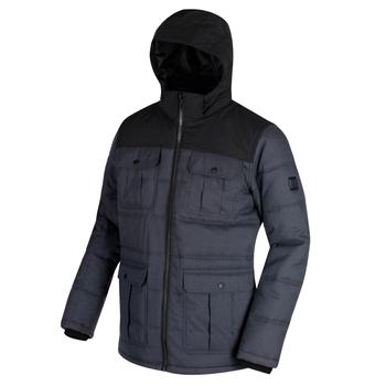 Regatta Arnault Herringbone Wool Effect Hooded Jacket Seal Grey Black