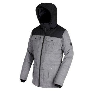 Regatta Arnault Herringbone Wool Effect Hooded Jacket - Rock Grey Black