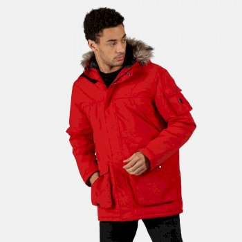 Regatta Men's Salinger II Waterproof Insulated Fur Trimmed Hooded Parka Jacket - Classic Red