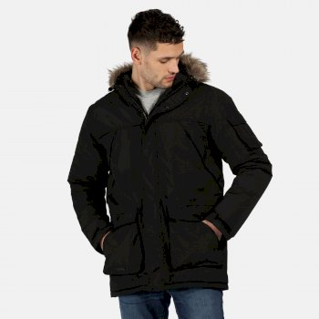 Regatta Men's Salinger II Waterproof Insulated Fur Trimmed Hooded Parka Jacket - Black