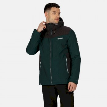 Regatta Men's Highton Stretch Waterproof Insulated Padded Hooded Walking Jacket - Deep Pine Ash