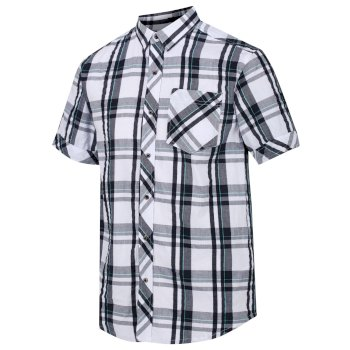 Regatta Men's Deakin III Short Sleeve Checked Shirt - White Navy