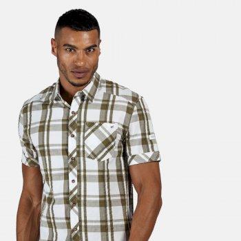 Regatta Men's Deakin III Short Sleeve Checked Shirt - White Camo Green