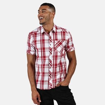 Regatta Men's Deakin III Short Sleeve Checked Shirt - White Delhi Red Check