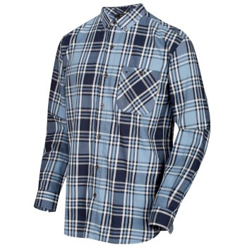 Regatta Men's Lazare Long Sleeved Checked Shirt - Navy
