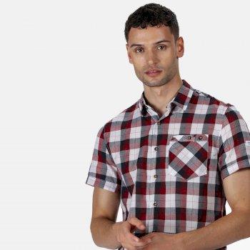 Ramiro kariertes Kurzarmhemd für Herren Rot