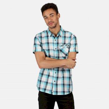 Ramiro kariertes Kurzarmhemd für Herren Blau