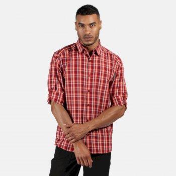 Mindano III kariertes Langarmhemd für Herren Rot