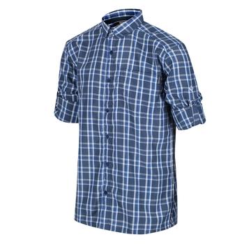 Mindano III kariertes Langarmhemd für Herren Blau