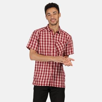Mindano V kariertes Kurzarmhemd für Herren Rot