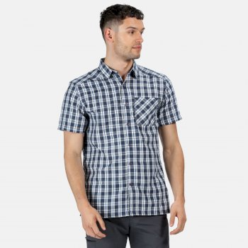 Regatta Men's Mindano V Short Sleeved Checked Shirt - Dark Denim