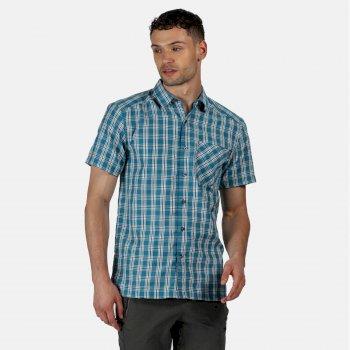 Mindano V kariertes Kurzarmhemd für Herren Blau