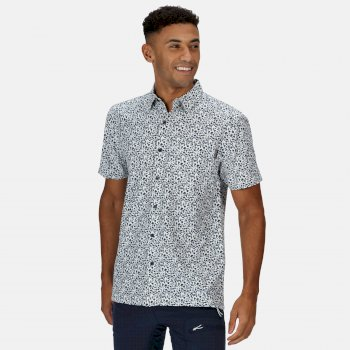 Regatta Men's Mindano V Short Sleeved Checked Shirt - White Dark Denim Floral