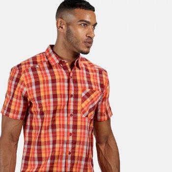 Kalambo V kariertes Kurzarmhemd für Herren Rot