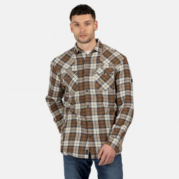 Regatta Men's Tavior Long Sleeved Checked Fleece Lined Shirt - Irish Cream Check