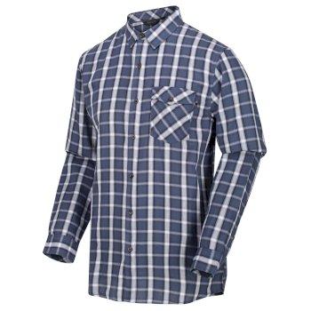Lonan langärmeliges, kariertes Hemd für Herren Blau