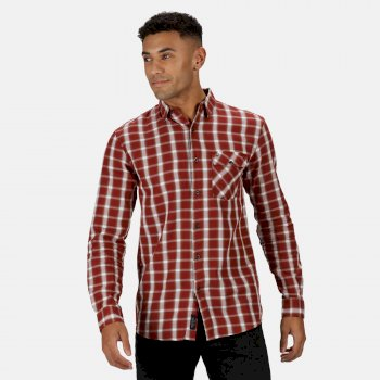 Regatta Men's Lonan Long Sleeved Checked Shirt - Spiced Apple Plaid