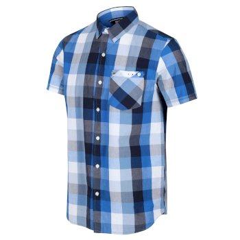 Ramiel kariertes Kurzarmhemd für Herren Blau