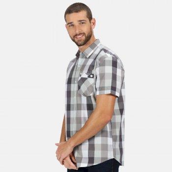 Ramiel kariertes Kurzarmhemd für Herren Grau