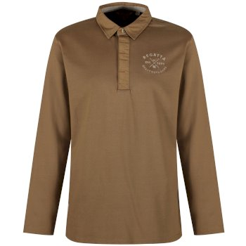 Regatta Pierce Rugby Style Shirt Long Sleeved Top - Dark Camel