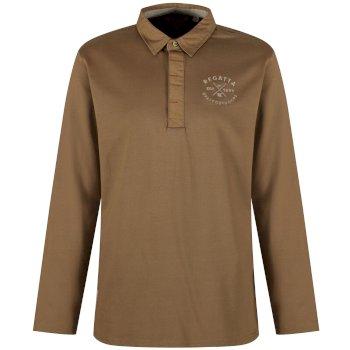 Regatta Pierce Rugby Style Shirt Long Sleeved Top Dark Camel