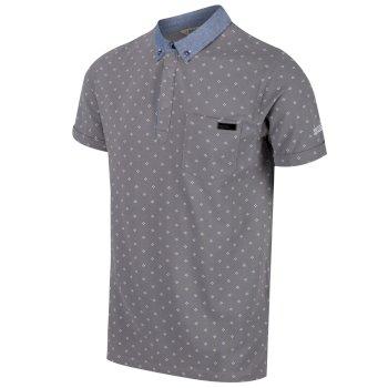 Bahram Herren-Poloshirt. White Compass Print