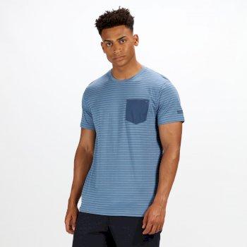 Teagan gestreiftes Coolweave-T-Shirt für Herren Captain Blue Navy