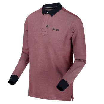 Panos Langarm-Poloshirt für Herren rot