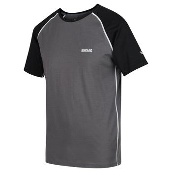 Tornell - Herren T-Shirt mit weicher Merinowolle Magnetgrau/Schwarz