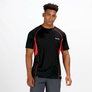 Deserta feuchtigkeitsableitendes Herren-T-Shirt schwarz-rot