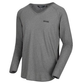 Kiro - Herren Langarmshirt - V-Ausschnitt Grau