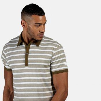 Morrie gestreiftes Polo-Shirt für Herren Grün