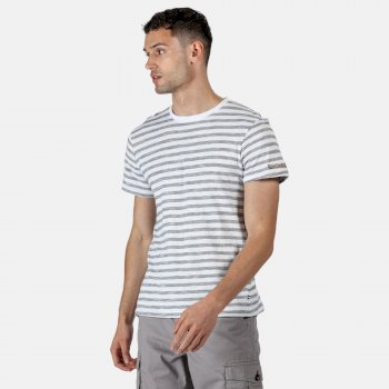 Regatta Men's Tariq Striped T-Shirt - White Navy