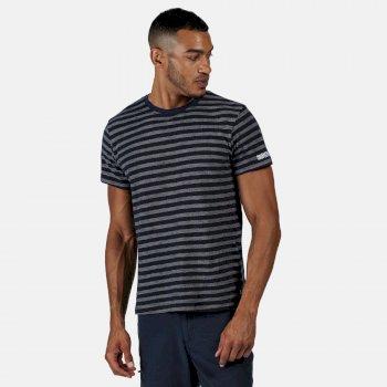 Tariq gestreiftes T-Shirt für Herren Blau