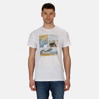 Regatta Men's Cline IV Graphic T-Shirt - White Summer Scene Print