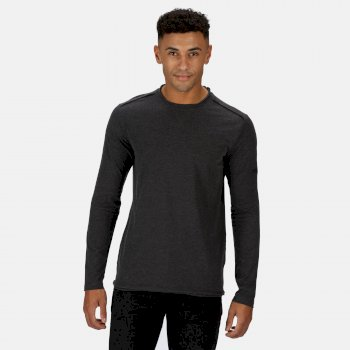 Regatta Men's Karter II Coolweave Lightweight Long Sleeve T-Shirt - Black