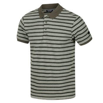 Regatta Men's Malak Striped Polo Shirt - Dark Khaki Stripe