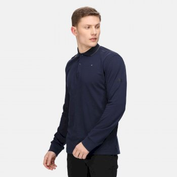 Leaonzo Langarm-Poloshirt für Herren Blau