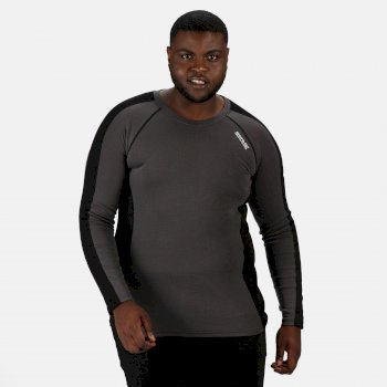 Regatta Men's Beru Overhead Base Layer Top - Magnet Grey Black