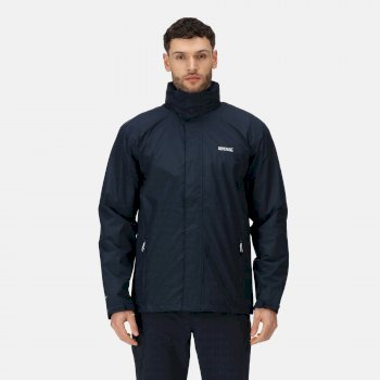 Regatta Men's Matt Lightweight Waterproof Jacket with Concealed Hood - Navy
