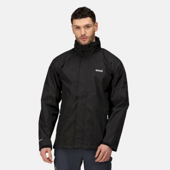 Regatta Men's Matt Lightweight Waterproof Jacket with Concealed Hood - Black